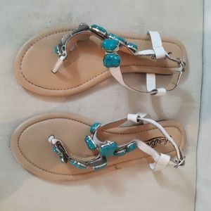 Lucky Brand Turquoise Jeweled Thong Sandals